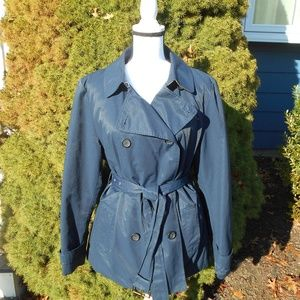 Tommy Hilfiger Navy Blue Belted Trench Coat XL